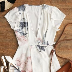 ZAFUL white floral wrap dress